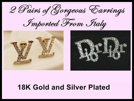 2x Earrings Silver Rhinestone Inspired L V D Letter Italian c-2