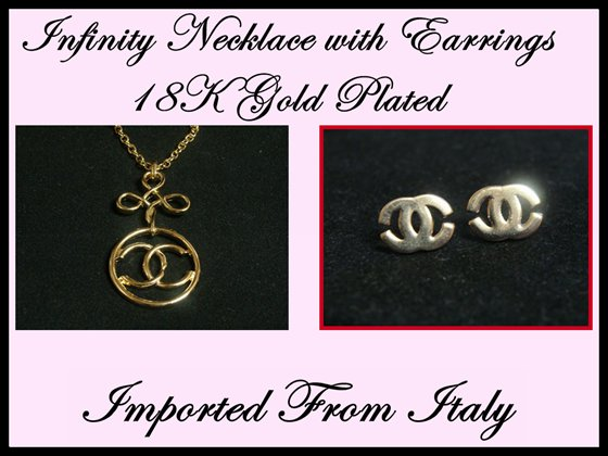 2x Classic Earrings Necklace Letter Double C Gold Infinity Italian Set y-7