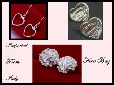 3x Earrings Classic Inspired Silver Rose Heart Italian Imported c-18