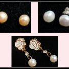 3x Pearl Freshwater Bridal Rose Silver Pink Cream White Gold Flower c-19