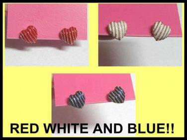 3x Classic Earrings Red White Blue Dangle Double Letter Silver Pink Rhinestone Italian y-14