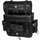 Jumbo Black Leather Motorcycle SissyBar Bag Luggage Rack Tour Pack Set  Studded