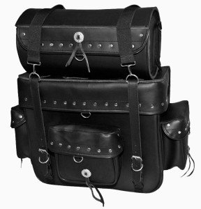Jumbo Black Leather Motorcycle SissyBar Bag Luggage Rack Tour Pack Set  Studded