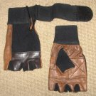Brown Leather Weight Lifting Gloves Long Wrist WrapTraning Exercise Workout New