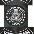 US Army Veteran 3 Patches SET Top & Bottom Rocker Center Back Patch Black New