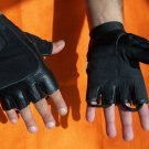 Leather Motorcycle Gloves Fingerless Black Back  Gel Palm Loops to Pull Off New