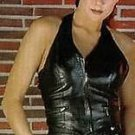 Women's Leather Halte Top Short  Very sexy  Crop Fitting style Vest Black New