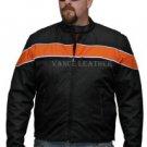 Motorcycle DuPont Textile Jacket front Reflective stripes Black & Orange vents