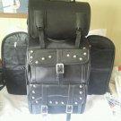 Jumbo Motorcycle sissy bar Back Rest Touring Bag Pack Luggage Rack Dual Bag Set