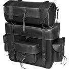 Jumbo Black Leather Motorcycle SissyBar Bag Luggage Rack Tour Pack Set  Plain