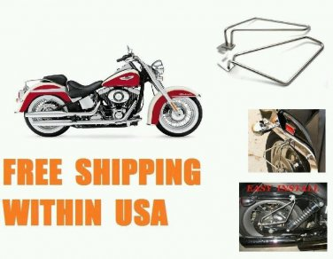 Motorcycle Saddlebags Brackets Set For Harley Davidson Softail Deluxe New Pair