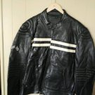 Mens classic black motorcycle jacket with white straps and checker flags new