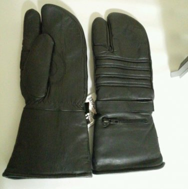 WINTER MOTORCYCLE RIDING LEATHER MITTS GLOVES BLACK with rain covers size XL