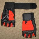Red Leather Weight Lifting Gloves Long Wrist WrapTraning Exercise Workout New