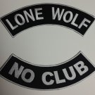 Lone Wolf No Club Rockers Back Patches set Biker motorcycle vest or Jacket New