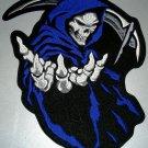 """Blue Grim Reaper Death Patch Patch Biker Motorcycle Jacket Vest Shirt Size 5"""""""