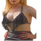 Women's Black Leather Biker Chic Motorcycle Bikini Top Fringes Sexy Low Cut New