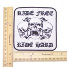 RIDE FREE RIDE HARD 3 SKULLS PATCH FOR BIKER MOTORCYCLE JACKET VEST LARGE NEW