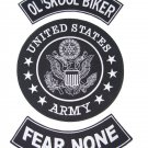 US ARMY OLD SKOOL BIKER FEAR NONE PATCHES SET FOR BIKER MOTORCYCLE VEST JACKET