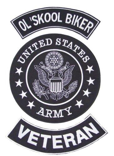 US ARMY OLD SKOOL BIKER VETERAN PATCHES SET FOR BIKER MOTORCYCLE VEST JACKET