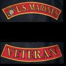 US Marines Veteran Back Rockers Patches Set Top Bottom For Jacket vest New RED