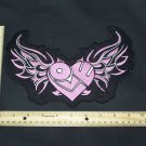 Women's Love Patch Pink Heart Wings Flames For Jacket Vest Back Patch badge Cute