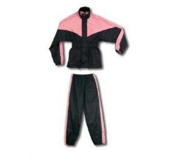 Black & Pink Women's Ladies Motorcycle Riding Rain Suit Jacket & Pants Set MEDIU