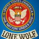 Lone Wolf Biker Patches set one nation under God Patriot Riders for jacket vest