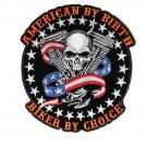 American By Birth Biker By Choice skull US Flag v twin Large Back Patch for Vest