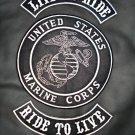 US Marines Live to Ride Ride to Live White on Black 3pc Back Patches Rockers Set