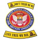 Dont Tread On Me Live free or die Patches  One Nation Under God In God we trust