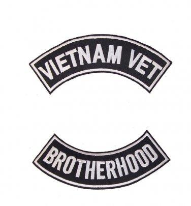 Vietnam Vet Brother Hood Back Patch Rockers Set Black New for Jacket Vest New
