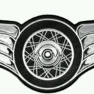 Motorcycle Biker Patch Winged Silver Wheel with Wings Small Size 5 x 2 inches