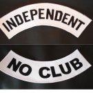 INDEPENDENT PATCHES SET NO CLUB BLACK & WHITE MOTORCYCLE BIKER VEST JACKET