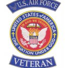 US Air Force Veteran Back Patch Set Rockers & Center Patch One Nation Under God