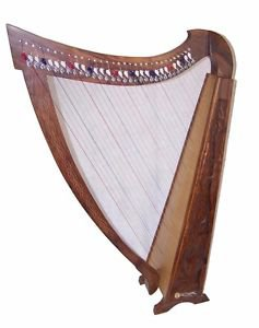Large Pedestal Harp 42 inch tall 31 strings solid wood with Levers