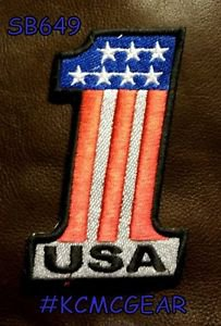 USA 1 Red white and blue Small Badge for Biker Vest Jacket Motorcycle Patch
