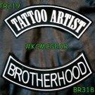 TATTOO ARTIST BROTHERHOO White on Black Back Military Patches Set for Biker Vest
