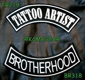 TATTOO ARTIST BROTHERHOO White on Black Back Military Patches Set for Biker Vest