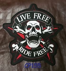 LIVE FREE RIDE FREE Screaming Skull Patch  Biker Vest Jacket Back Patches 10�