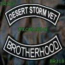 DESERT STORM VET BROTHERHOOD White on Black Back Military Patches Set Biker Vest