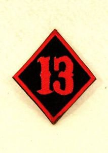 13 Diamond Red on black Small Badge Biker Vest Jacket Patch SB823