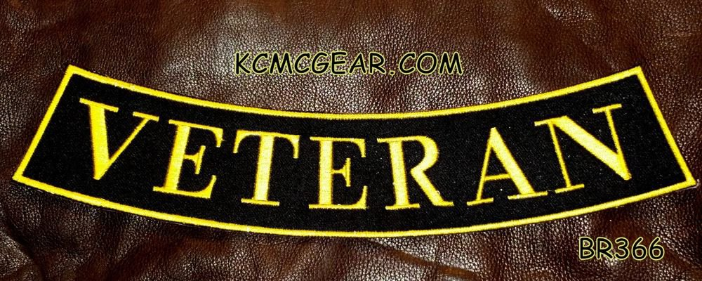 "VETERAN Yellow on Black Back Patch Bottom Rocker for Biker Veteran Vest 10"""
