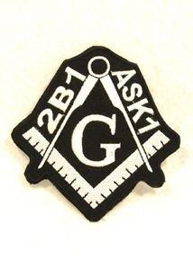 Mason 2B1 ASK 1 White on black Small Badge for Biker Vest Jacket Patch