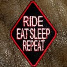 Ride Eat Sleep Repeat Small Badge for Biker Vest Jacket Motorcycle Patch