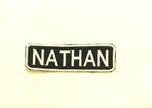 NATHAN Name Tag Patch Iron on or sew on for Shirt Jacket Vest New Name Patches