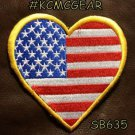 USA HEART FLAG Small Badge for Biker Vest Motorcycle Patch