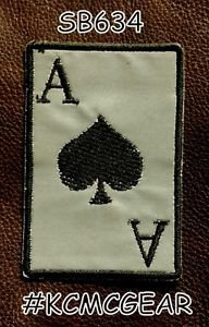 ACE OF SPADES Black on Reflective Small Badge for Biker Vest Motorcycle Patch