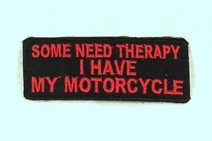 SOME NEED THERAPY Red on Black Small Badge for Biker Vest Motorcycle Patch