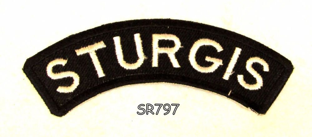 Sturgis White on Black Small Rocker Iron on Patches for Biker Vest Jacket